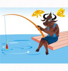 buffalo fishing vector image vector image
