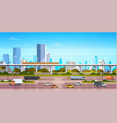 cityscape background modern city panorama with vector image