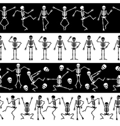 Dansing skeletons horizontal pattern vector