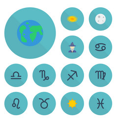 flat icons bull earth planet solar and other vector image vector image