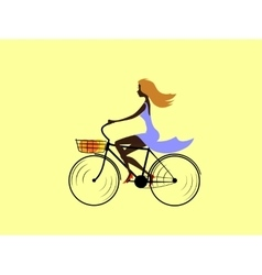 Girl on bicycle vector image