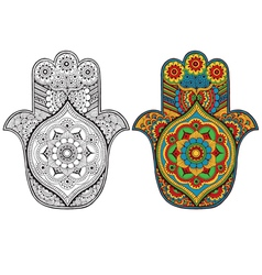 Hamsa decorated with patterns vector