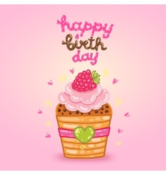 Happy birthday card with raspberry cupcake vector