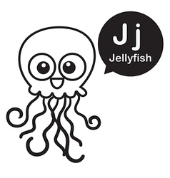 J jellyfish cartoon and alphabet for children to vector