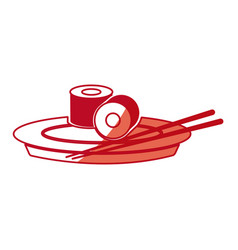 Japanese sushi food dish chopstick shadow vector