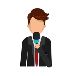 Journalist with microphone vector image
