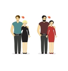 Loving Couples Isolated on a white background vector image vector image