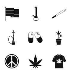 Marijuana icons set simple style vector