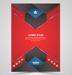 Red brochure cover template design vector