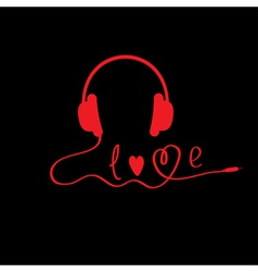 Red headphones black background love card vector