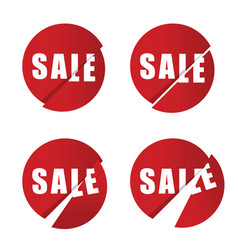 sale icon in red color set vector image