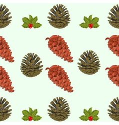 Seamless texture of pine cones and berries christm vector