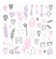 Set of love romantic design elements vector