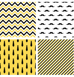 set of seamless male patterns mustaches neckties vector image vector image