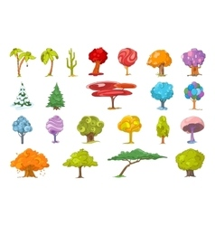 set of various trees vector image