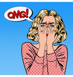 Shocked woman closes eyes with her hands pop art vector