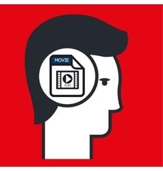 silhouette multimedia icon vector image