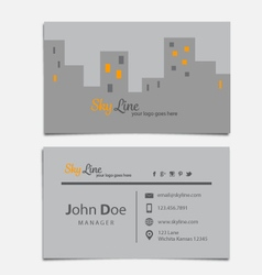 Sky line themed business card template vector