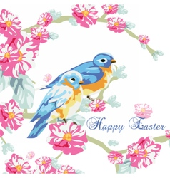 Spring card with watercolor flowers and pigeons vector