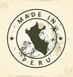 Stamp with map of Peru vector image vector image