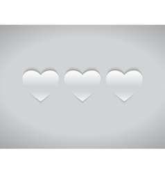 Three White Hearts vector image vector image