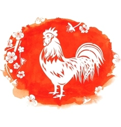 Watercolor Background with Rooster Zodiac Symbol vector image vector image