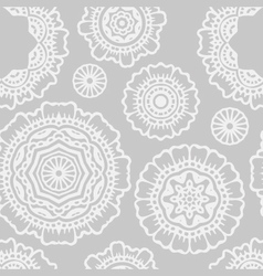 White and grey floral mandala seamless pattern vector