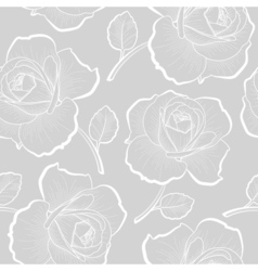 White outline roses on gray seamless pattern vector image vector image