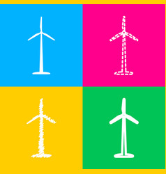 Wind turbine logo or sign four styles of icon on vector