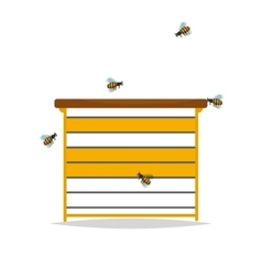 Wooden beehive on white background vector