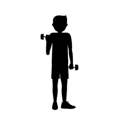 Boy lifting weight design vector
