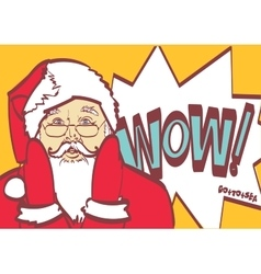Cool santa claus in pop art style for any vector