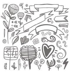 Set of hand-drawn decorative elements wedding vector