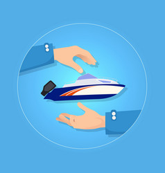 Blue and orange speed motorboat on blue background vector