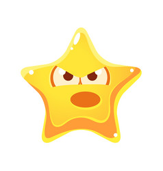 Yellow star with emotional face angry and vector