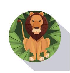 Circular frame shading of poster closeup lion in vector