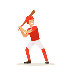 Baseball player in red uniform swinging with bat vector