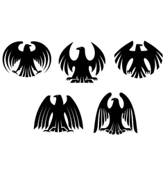 Black heraldic eagles vector
