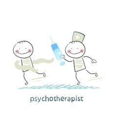 Psychotherapist with a syringe catching up with vector