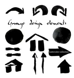 Black watercolor grunge arrows collection vector image