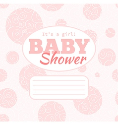 Pink baby shower party invitation - girl vector