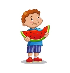 Boy with watermelon vector