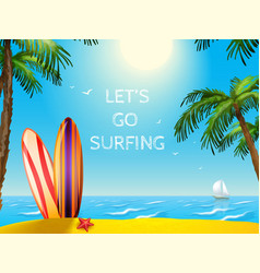Summer travel poster surfboards background vector