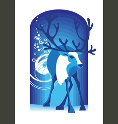 Blue deer vector