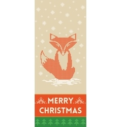 Merry christmas banner with fox in knitted style vector