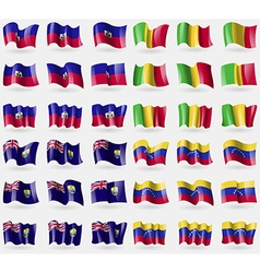 Haiti mali saint helena venezuela set of 36 flags vector