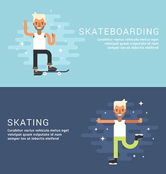 Set of concept flat style sport male cartoon vector