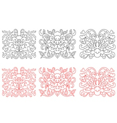 Floral embellishments in retro oriental style vector
