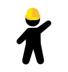 Worker with helmet isolated flat design vector