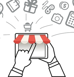 Shopping via internet connection Simple line vector image